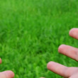 Stretch hands on green grass background — Stock Video