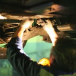 Stock Video: Master repairs car