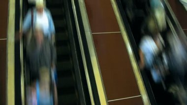 Moving up on escalator — Stock Video