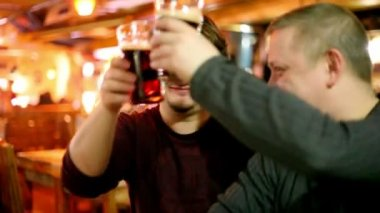 Two mans clink glasses and drink beer — Stock Video