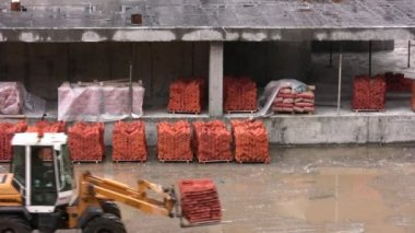 Loader carry the bricks — Stock Video