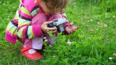 Portrait of little girl photographing flower in park — Vídeo Stock