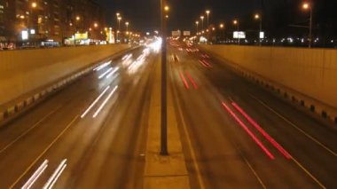 Cars moving on road in night, time lapse — Stock Video