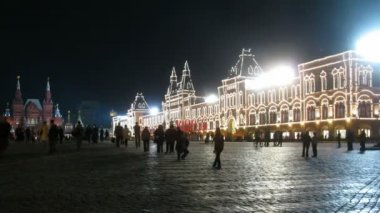 Even night in red square of packed — Stock Video