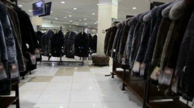 Panorama of fur coat shop — Stock Video