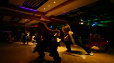 Show troupe performing in club — Stock Video
