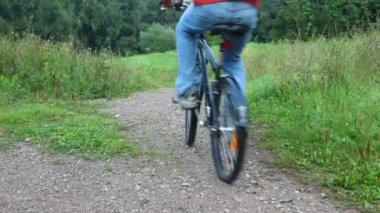 Muž jedoucí na kole v parku, z fotoaparátu — Stock video