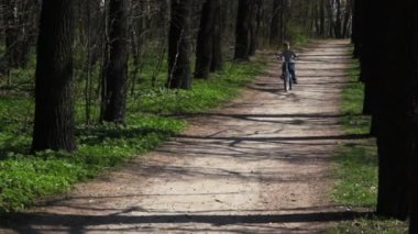 Ragazzo torna sulla bicicletta su strada forestale in primavera — Video Stock