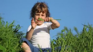 Girl playing with grass and smiling — Stock Video