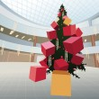New year christmas fur tree with gifts in big shop vector — Stockvectorbeeld