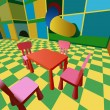 Child room with labyrinth and table with chairs vector — Vettoriali Stock