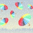 Five colorful umbrellas flying under big city. it is raining. - Stock Vector