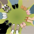 Eight friends stand in a circle vector - Stock Vector