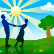 Silhouettes of man and woman standing on summer meadow. — Vector de stock