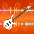 White electro guitar on abstract colorful equalizer bar background. — Stock Vector