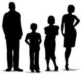 Family of four standing silhouette vector — Stock Vector