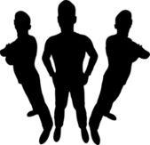 Three men silhouette wide angle — Stock Vector