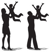 Parents with children on hands vector silhouette — Stock Vector