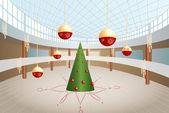Green christmas tre and big balls in shop interior vector — Stock Vector