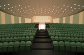 Empty conference auditorium with green chairs vector — Stock Vector