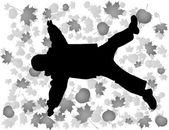 Vector autumn child lies like star — Stock Vector