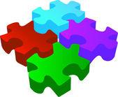 Vector volume 3d puzzle — Stock Vector