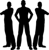 Three men silhouette — Stock Vector