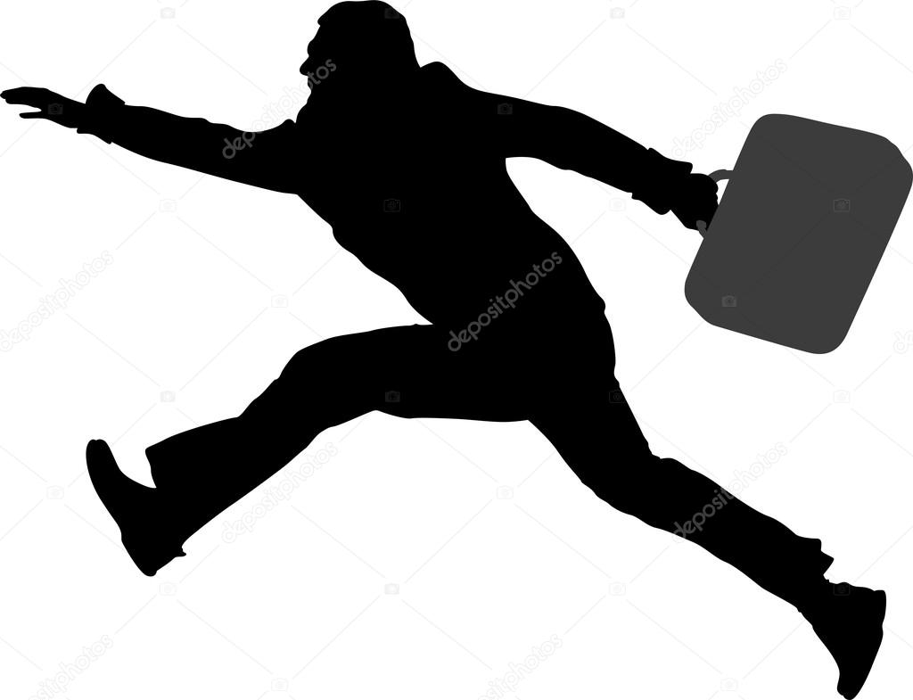 Running Man In Suit Silhouette Run fly man with bag vector