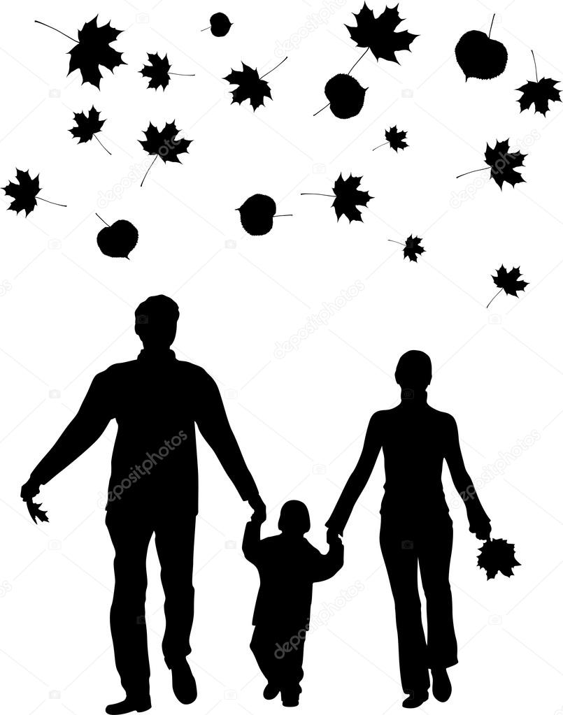 Vector walking family autumn leaves  Stock Vector #16645921