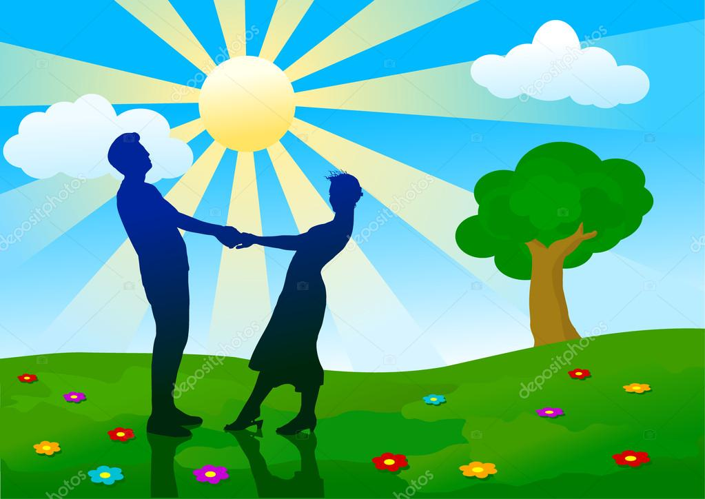 Silhouettes of man and woman standing on summer meadow.  Stock Vector #16646375