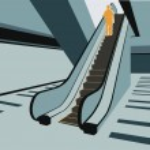 Persons on escalator in shop vector — Stock Vector