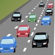 Stock Vector: Vector many cars on road