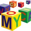 Cube toy with letters vector — Stock Vector