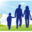 Royalty-Free Stock Vector Image: Father and mother walk with children