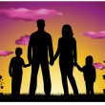 Family making house silhouette — Stock Vector