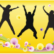 Jumping friends floral vector - Stock Vector