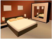 Brown bedroom vector — Stock Vector