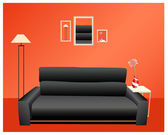 Black sofa on red wall vector — Stock Vector