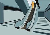 Persons on escalator in shop vector — Stockvector