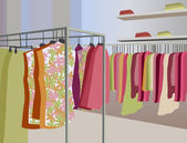 Kleding in shop vector — Stockvector