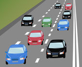 Vector many cars on road — Stock Vector