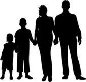 Family silhouette vector — Stock Vector