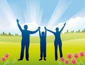 Family with son hands up vector — Stock Vector