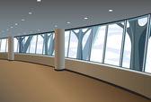 Big window interior vector — Stock Vector