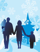 Vector winter family of four — Stock Vector