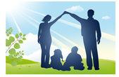 Family house vector silhouette — Stock Vector
