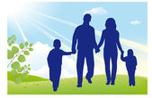 Father and mother walk with children — Stock Vector