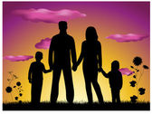 Family making house silhouette — Stock Vector