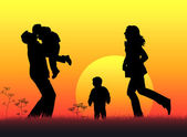 Family of four sunset silhouette vector — Stock Vector