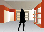 Woman silhouette in empty shop vector — Stock Vector